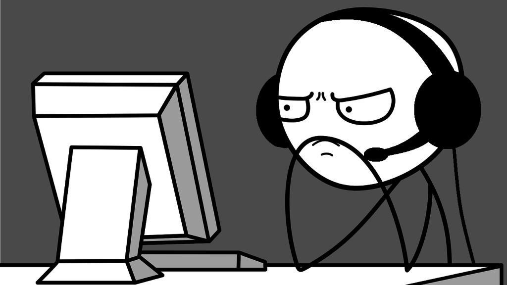 Illustration of frustrated stick-person wearing gaming headset looking at computer monitor.