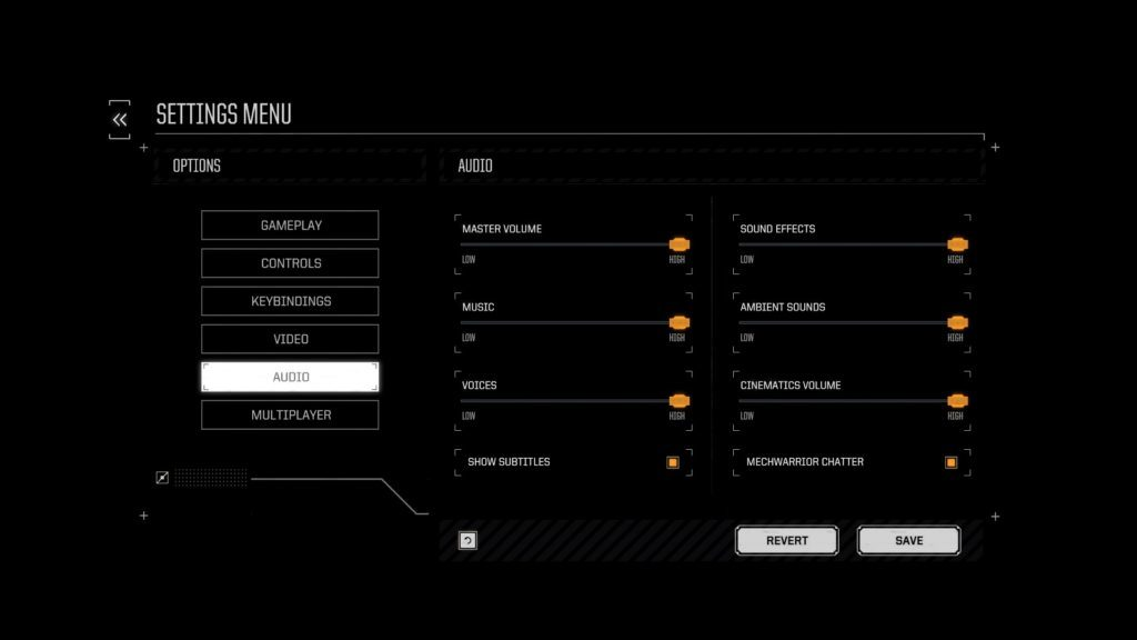 Battle tech settings menu