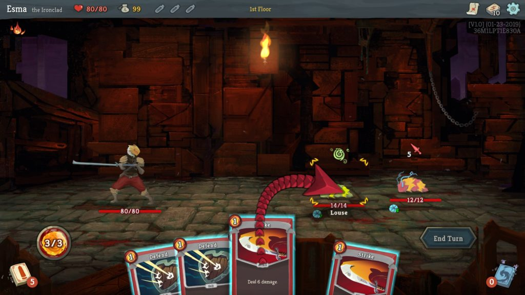 Fight scene with player character on left and two louse enemies on right. Selection of cards at bottom of screen.