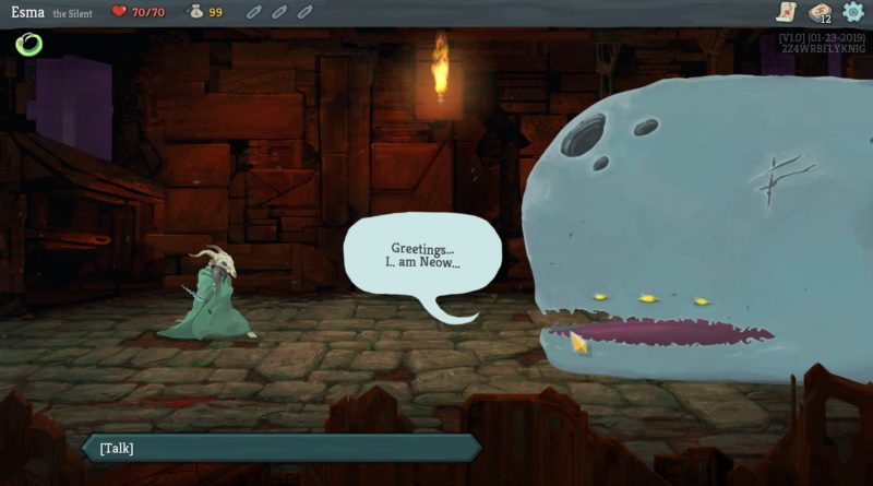 Player character at the start of a new game, talking to a whale.