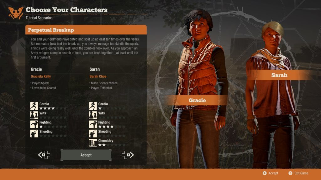 Tutorial mission starting character selection screen