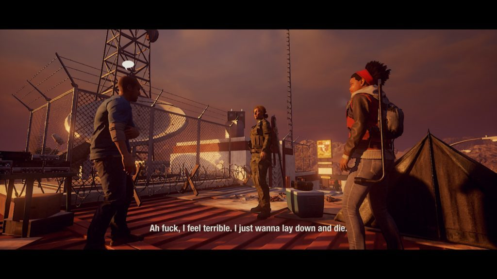 Tutorial mission cutscene illustrating how legible the subtitles are