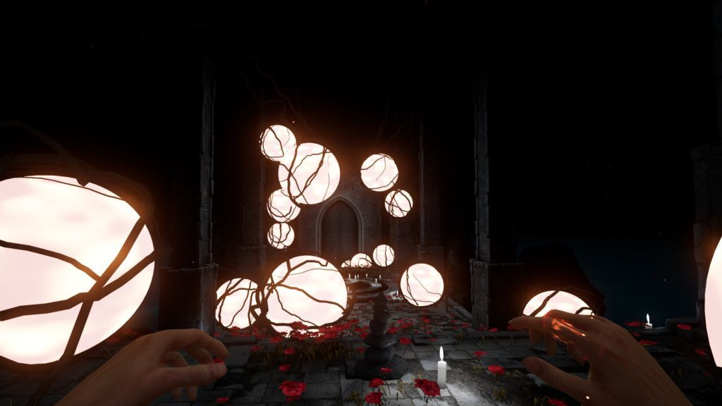 1st person view of hands with glowing orbs surrounded by vines.
