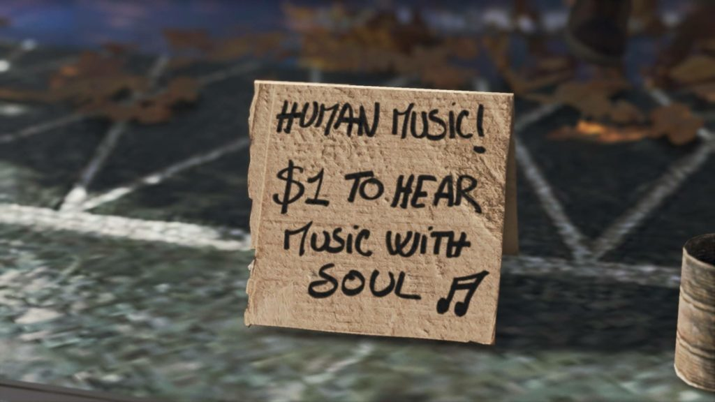"Close-up of cardboard sign, ""Human Music! $1 to hear music with soul."""