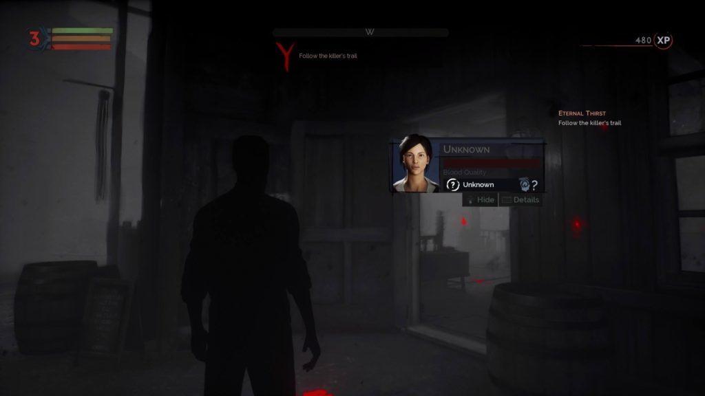 Vampire sight mode showing NPC info card.