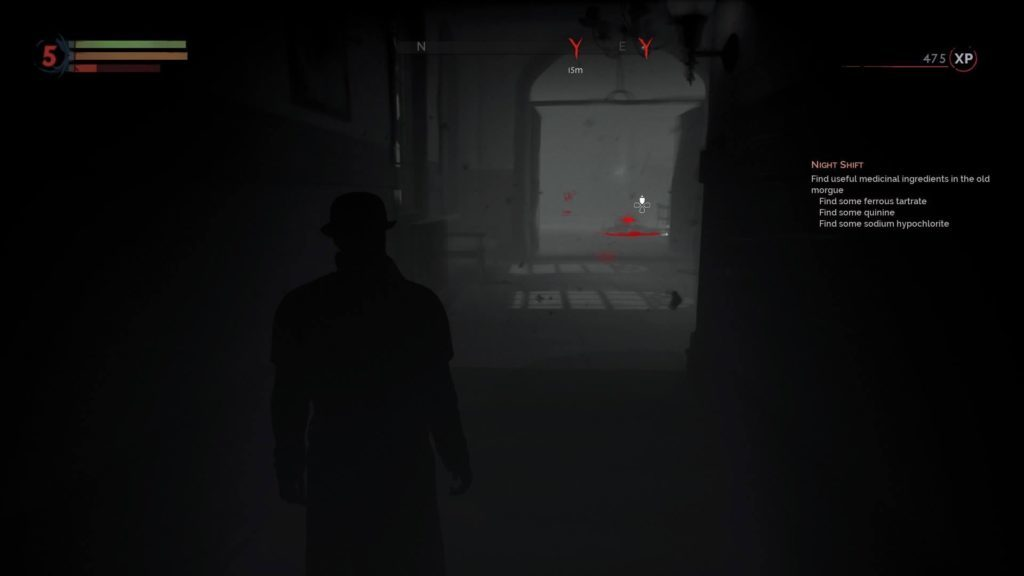 Vampire sight mode showing objective location highlighted by bright red blood.