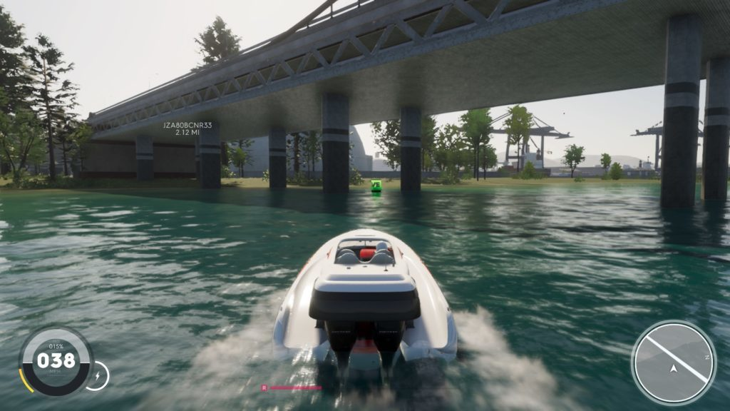 Driving a boat under a bridge.
