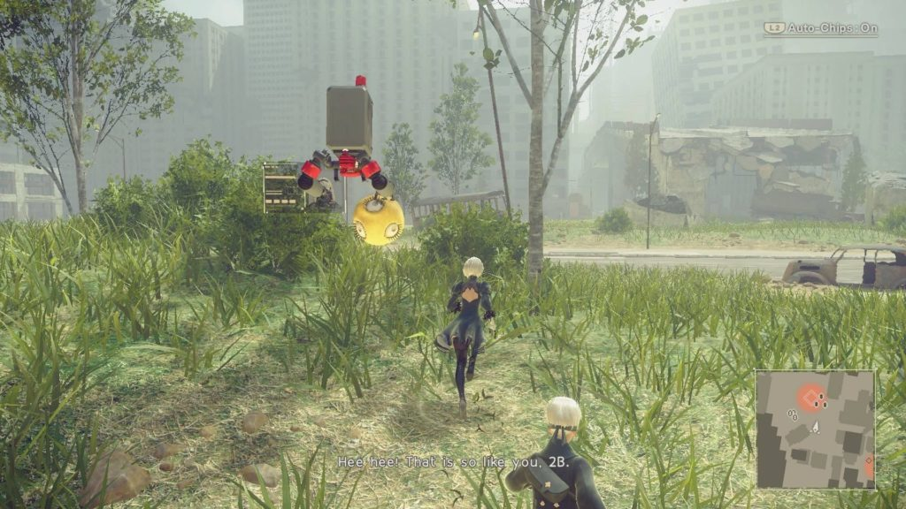 2B and 9S exploring mission area in city ruins.