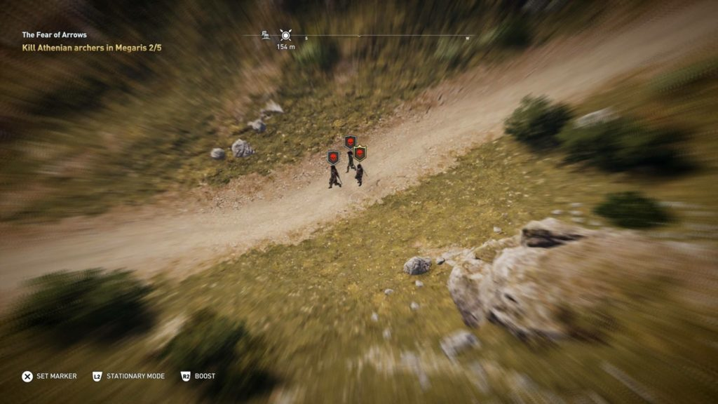 Blurred screen with three high level enemies in the distance.