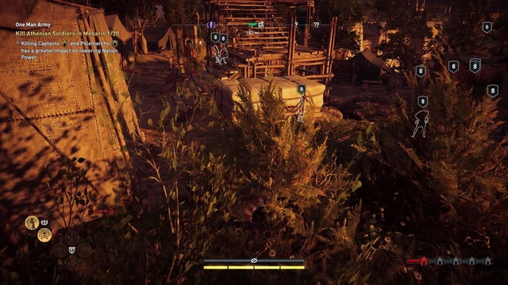 Kassandra hidden in bush outside enemy camp. Enemies highlighted in white.