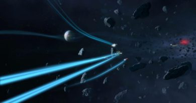 Ship flying through space engaged in combat