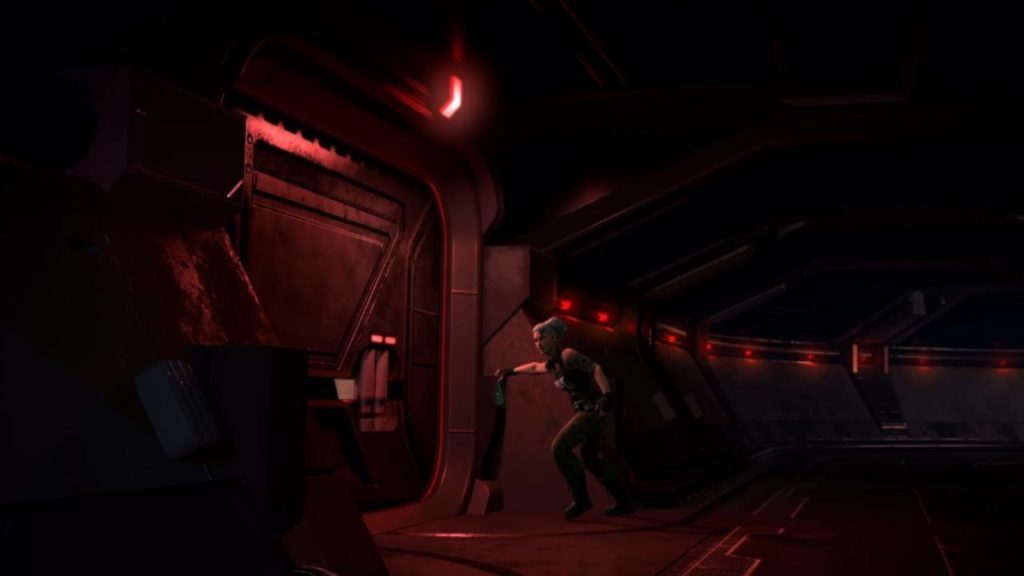 Cutscene of character near a door with no captioning displayed.