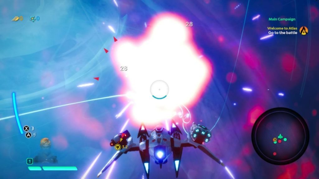 Ship fighting in space with icons indicating location of all enemy ships.
