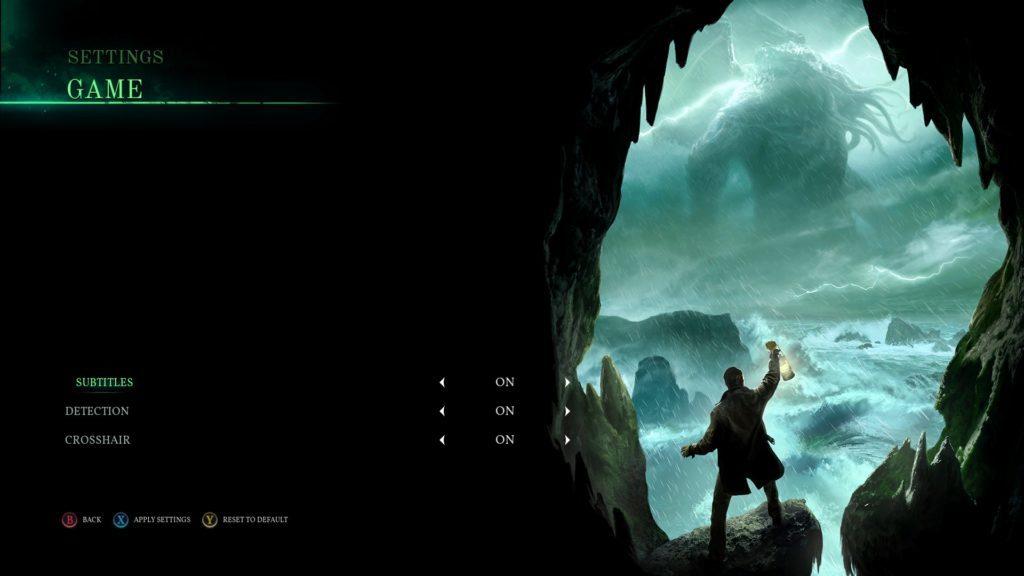 Game settings screen