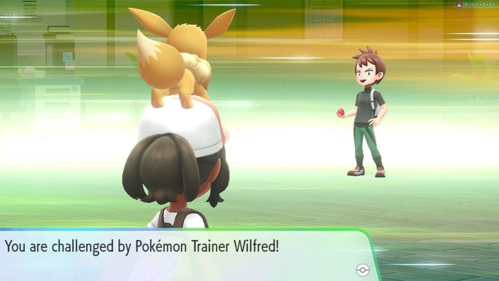 Challenge cutscene, player character looking at challenger with Evee on her head.