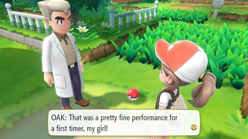 Professor Oak talking to player, dialogue shown in text box.