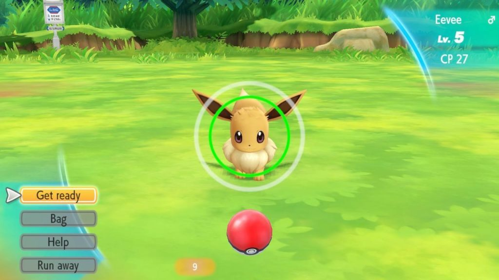 Battle scene with Evee showing player how to use controls. White and green pulsing circles in center of screen.