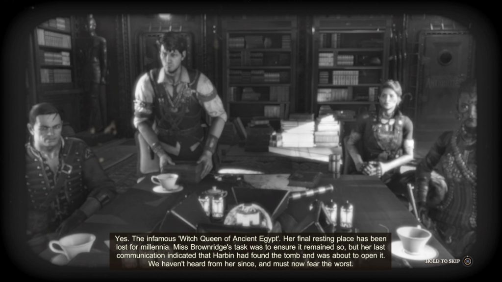 Black and white scene of Strange Brigade crew. Easily legible subtitles shown at bottom.