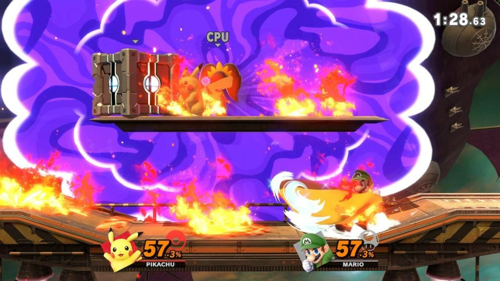 Pikachu and Mario fighting in a factory stage. Flames and a purple cloud surround the fighters.