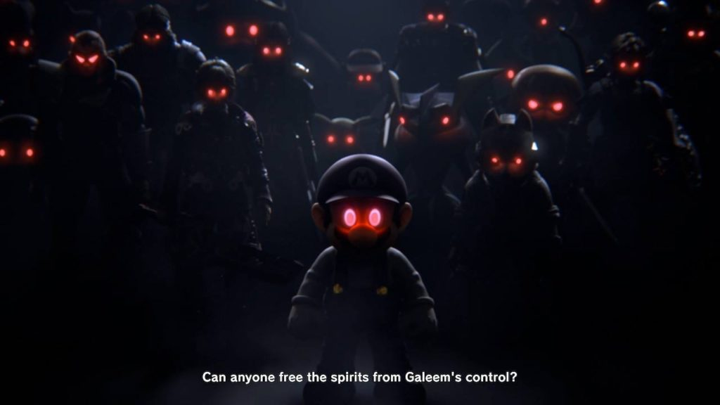 "Collection of Smash Bros. fighters with glowing red eyes with subtitle text that says, ""Can anyone free the spirits from Galeem's control?"""