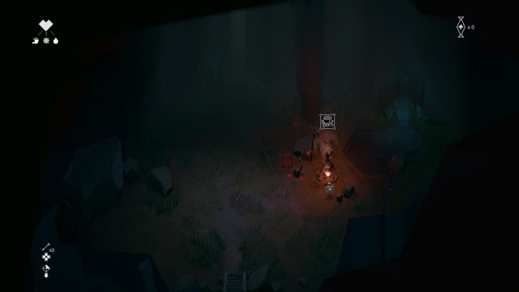 Burning campfire inside dark cave, showing minimal UI.