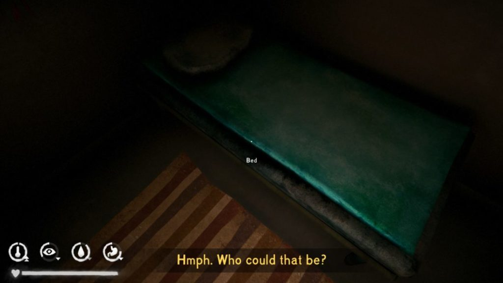 "Scene with character looking at bed, un-captioned phone ringing, subtitles asking ""Who could that be?"""