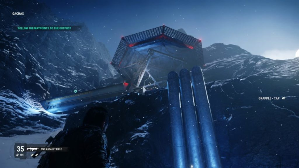 Snowy enemy mountain base with green mission location icon shown at top left.