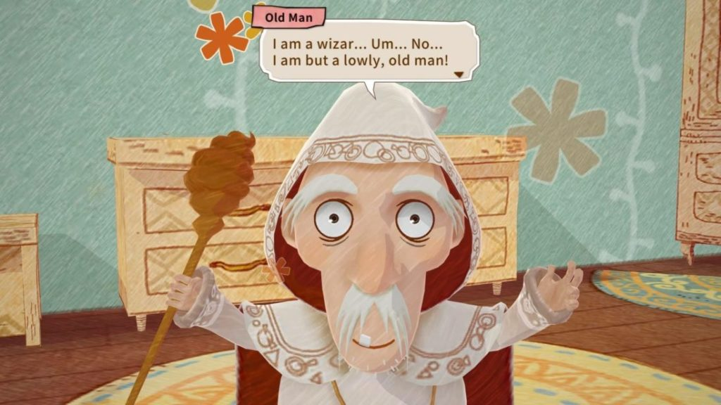 """Pappy speaking, text bubble reads, """"I am a wizar... Um... No... I am but a lowly, old man!"""""""