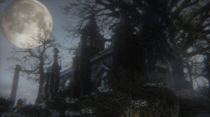 Large moon, gothic mansion, and dead tree in front of a dark sky.