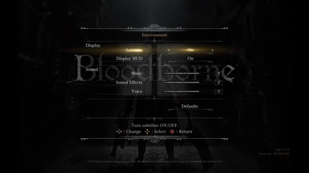 Bloodborne environment menu.