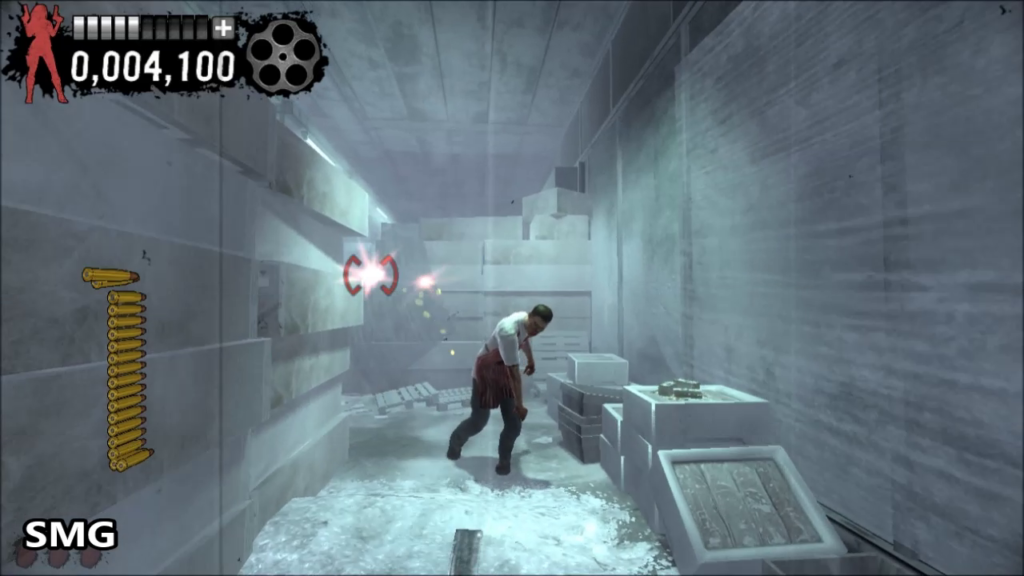 Inside a commercial freezer, enemy in center of screen, walking toward player.