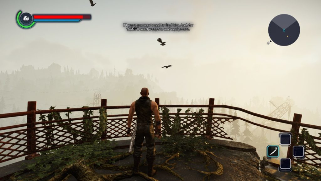 Player character standing on dilapidated balcony.