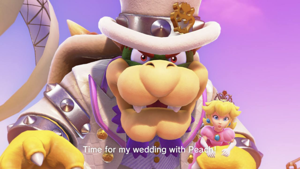 Bowser wearing tuxedo holding Princess Peach.