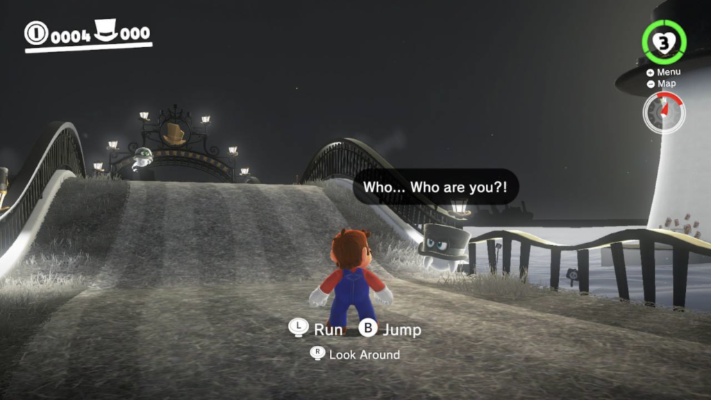 Mario standing on a black and white bridge, talking to a black top hat.