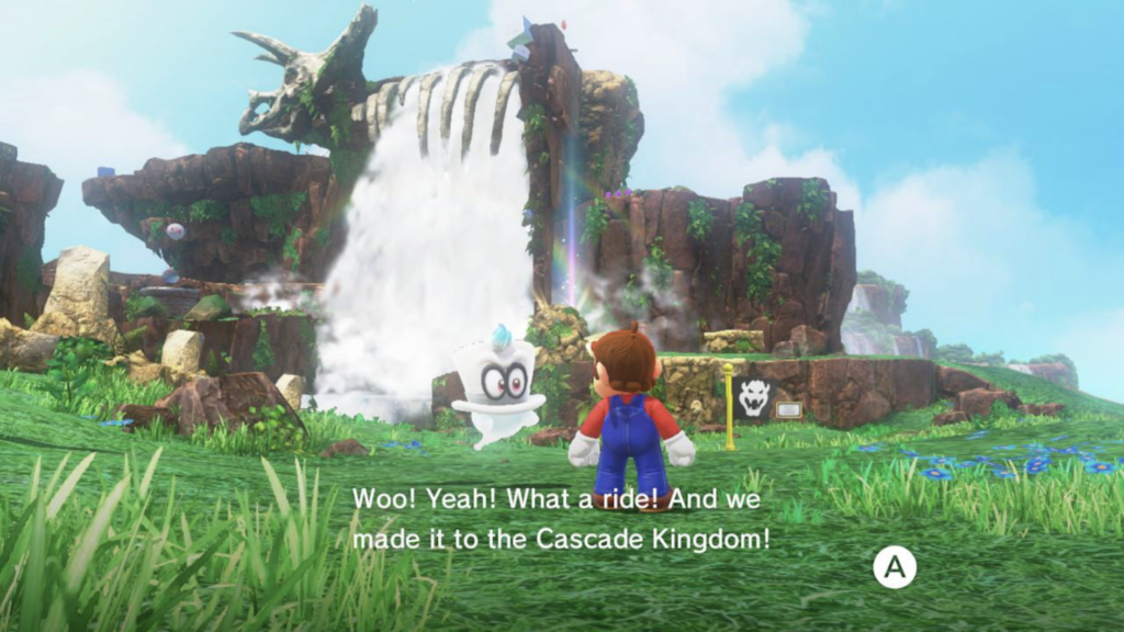 Mario and Cappy standing in front of a waterfall.