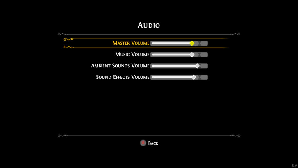 Audio settings menu with volume sliders