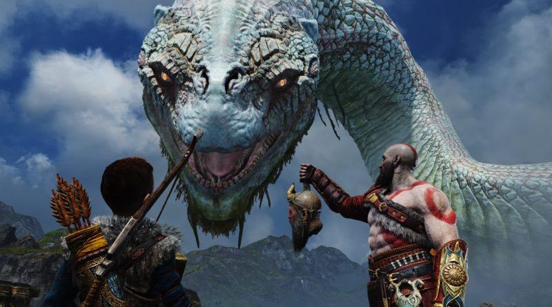 Kratos and Atreus talking to the sea serpent