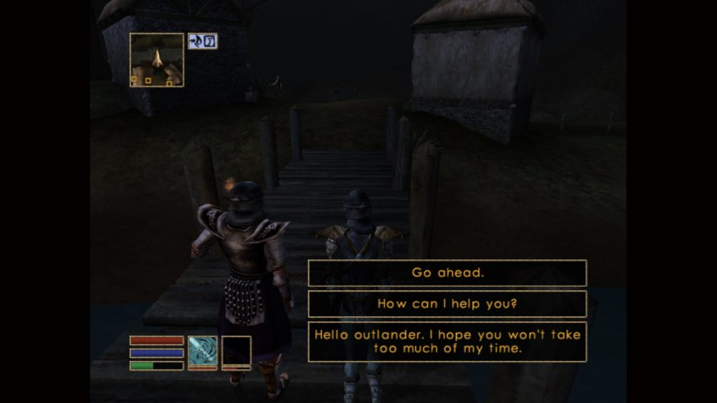 Player character in Seyda Neen surrounded by NPCs all speaking, subtitles have no speaker labels