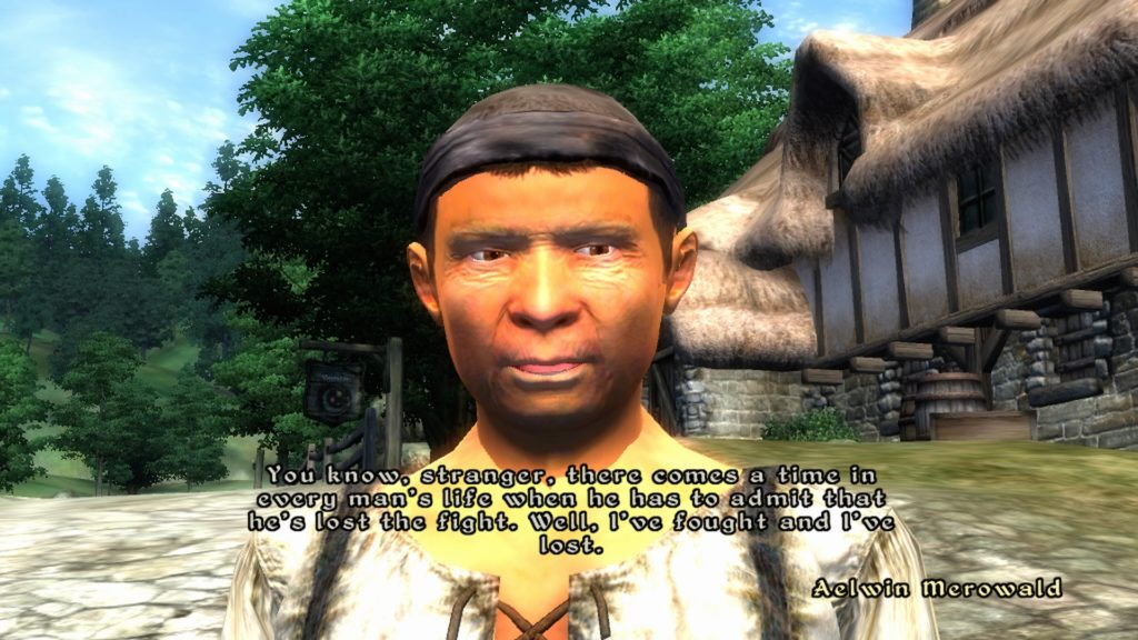 Aelwin Merowald speaking to player character outside of his home.