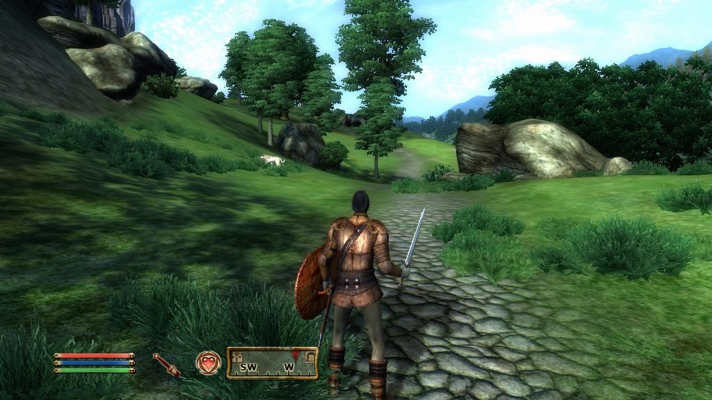 Player character walking along stone path with wolf enemy to the left.