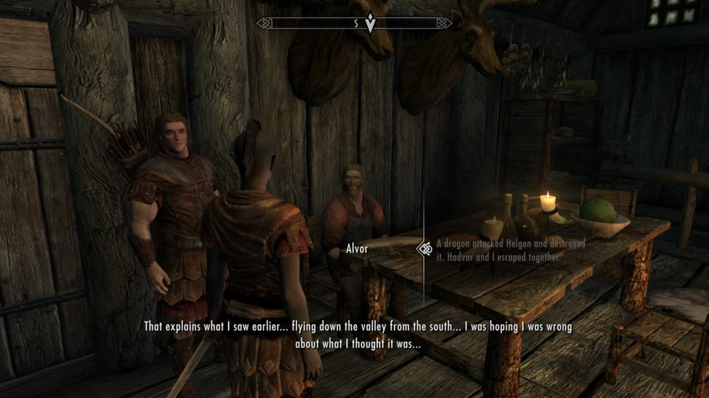 Inside Alvor's house talking about the dragon that attacked Helgen.