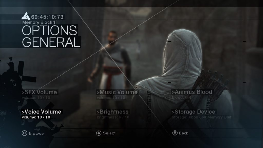 Pause screen showing options menu