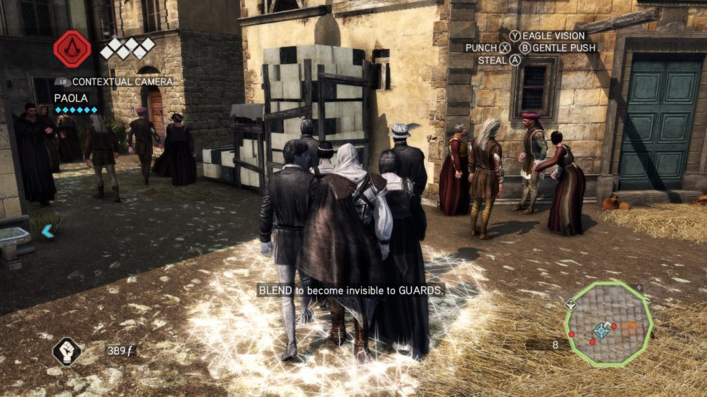 Ezio walking in a group, indicator shown on ground to show he has successfully blended.