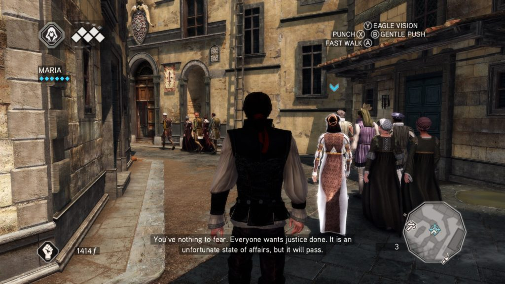 Ezio following an NPC through Florence streets.