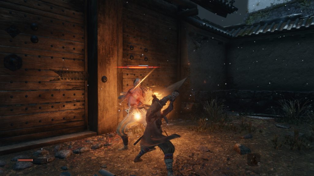 Wolf in a sword fight with an enemy, health and other bar shown on screen.