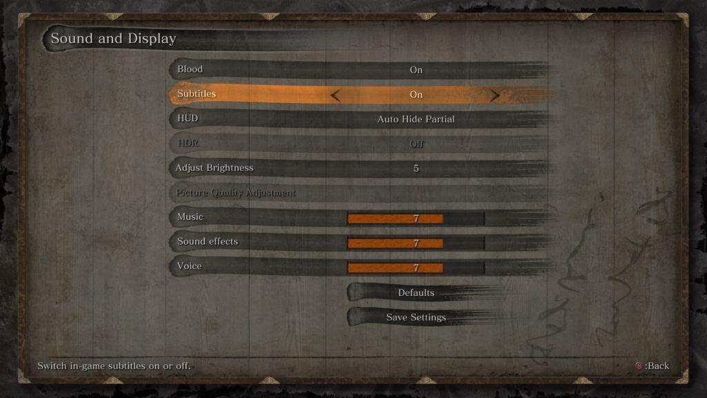 Sound and display options menu