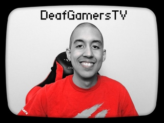 "Black and white portrait of young man with buzzed hair and text ""DeafGamersTV"" at the top of the image."