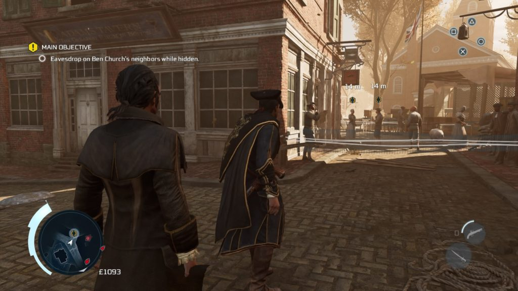 Haytham and Lee walking through Boston, approaching a couple to eavesdrop on.