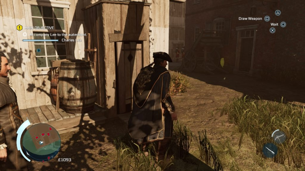 Haytham and Lee walking in enemy fort. Restricted zone indicated on minimap.