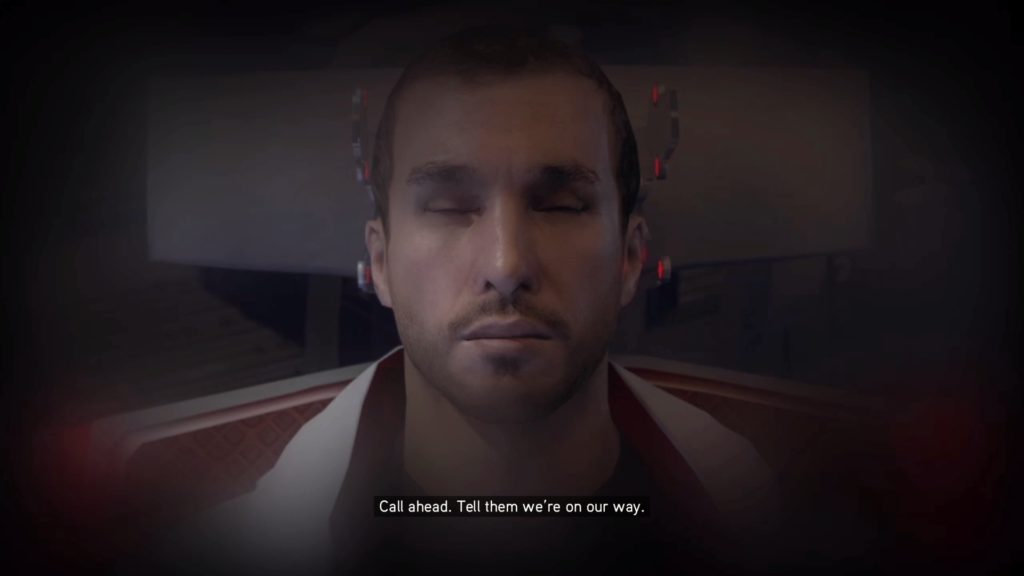 Opening scene of Revelations showing Desmond with his eyes closed.